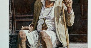 لوحة زيتية تجسد معاناة هذا الرجل المسن جراء الحرب في اليمن !