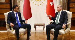 أردوغان يجري محادثات مع أمير قطر على خلفية انهيار الليرة التركية
