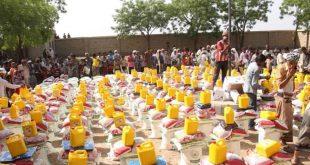 المحويت: تدشين توزيع المساعدات الغذائية للنازحين