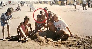 صورة نادرة لميسي وزوجته على الشاطئ