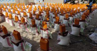 توزيع سلل غذائية لنازحي مديرية الدريهمي
